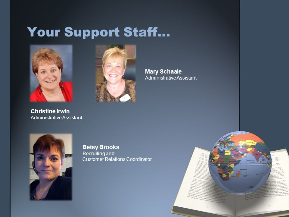 Your Support Staff… Christine Irwin Administrative Assistant Mary Schaale Administrative Assistant Betsy Brooks Recruiting and Customer Relations Coor