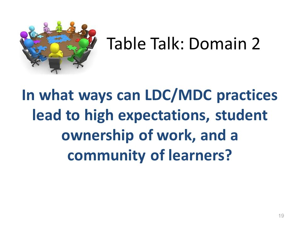 Table Talk: Domain 2 In what ways can LDC/MDC practices lead to high expectations, student ownership of work, and a community of learners.