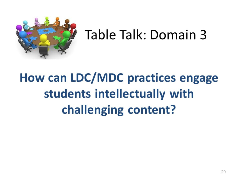 Table Talk: Domain 3 How can LDC/MDC practices engage students intellectually with challenging content.