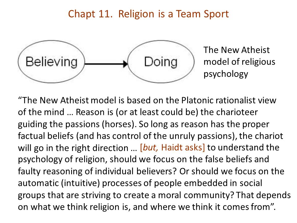 """Chapt 11. Religion is a Team Sport The New Atheist model of religious psychology """"The New Atheist model is based on the Platonic rationalist view of t"""