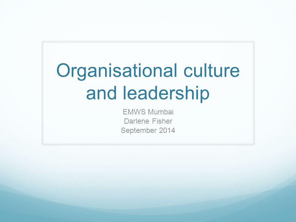 Organisational culture and leadership EMWS Mumbai Darlene Fisher September 2014