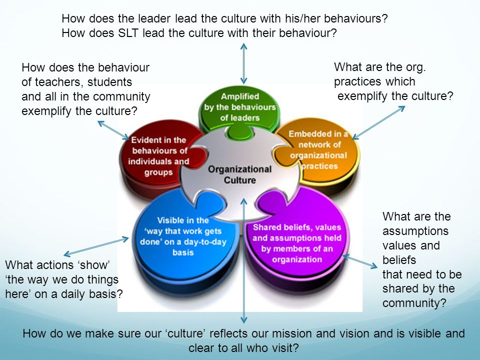 How does the leader lead the culture with his/her behaviours? How does SLT lead the culture with their behaviour? What are the org. practices which ex