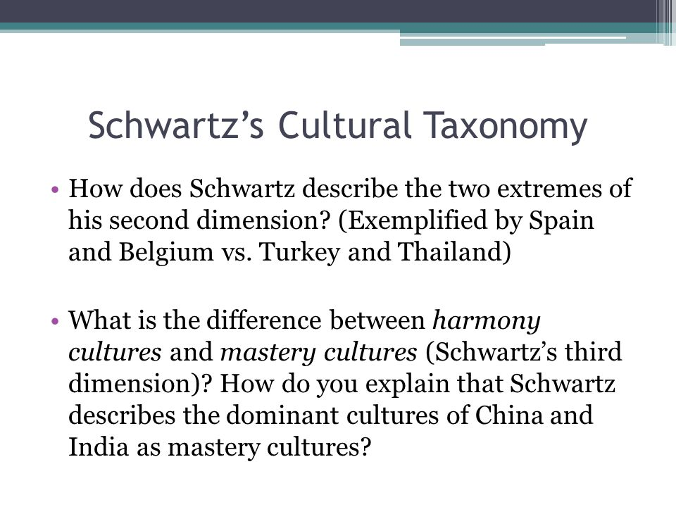 Schwartz's Cultural Taxonomy How does Schwartz describe the two extremes of his second dimension.