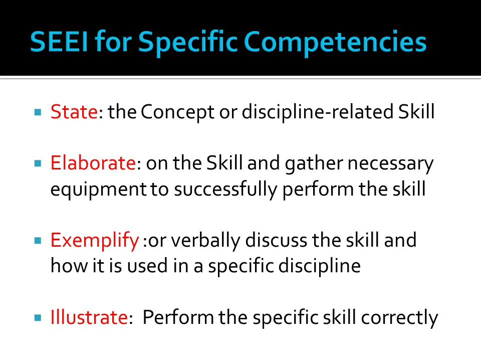  State: the Concept or discipline-related Skill  Elaborate: on the Skill and gather necessary equipment to successfully perform the skill  Exemplify :or verbally discuss the skill and how it is used in a specific discipline  Illustrate: Perform the specific skill correctly