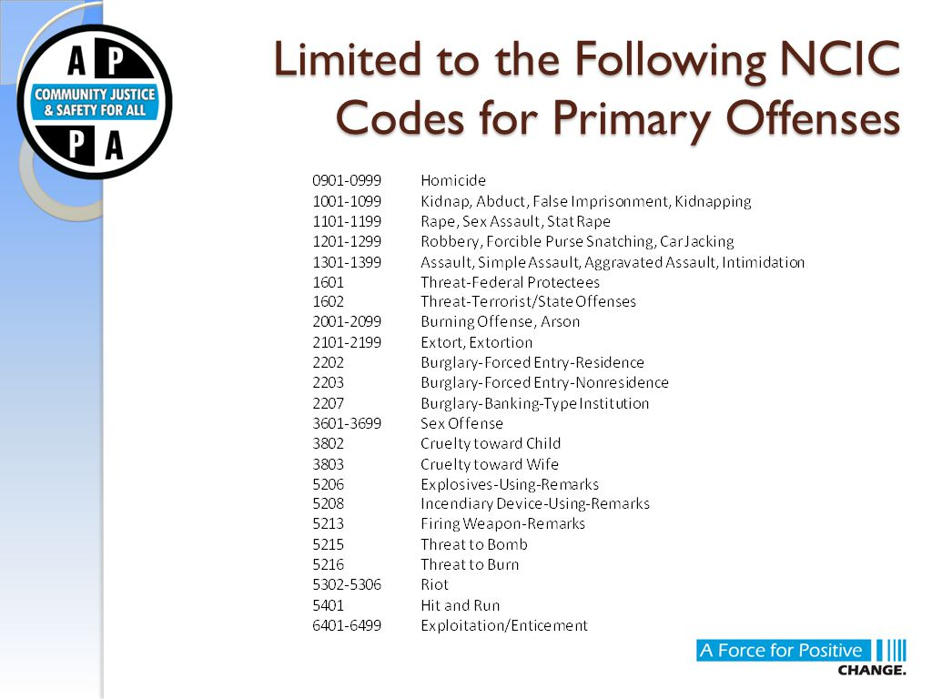 Limited to the Following NCIC Codes for Primary Offenses
