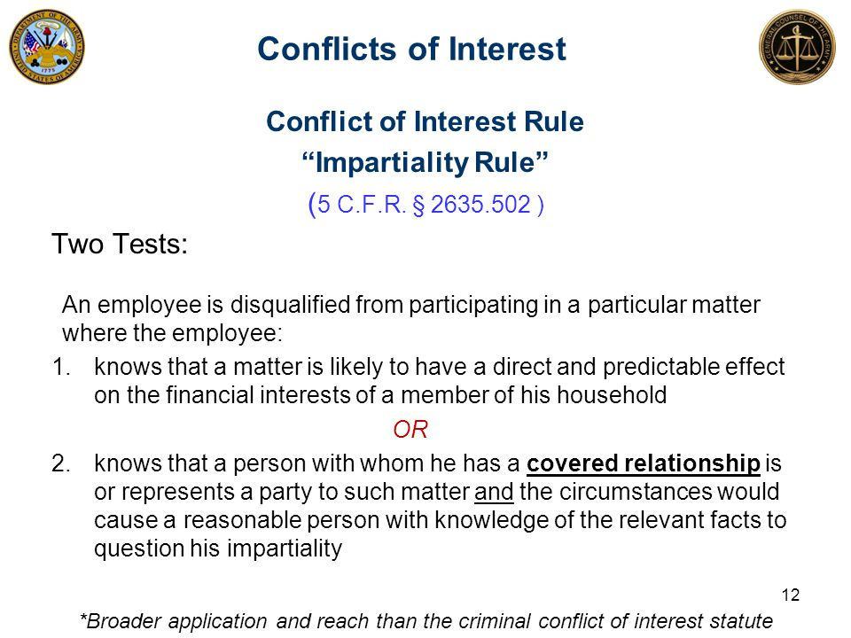 """Conflicts of Interest Conflict of Interest Rule """"Impartiality Rule"""" ( 5 C.F.R. § 2635.502 ) Two Tests: An employee is disqualified from participating"""
