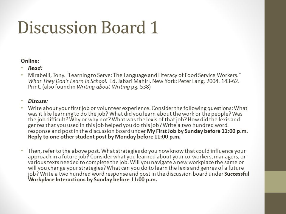 Discussion Board 1 Online: Read: Mirabelli, Tony.