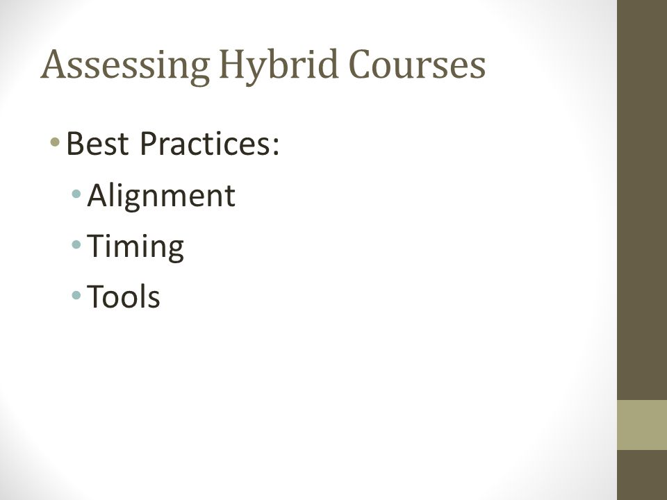 Assessing Hybrid Courses Best Practices: Alignment Timing Tools