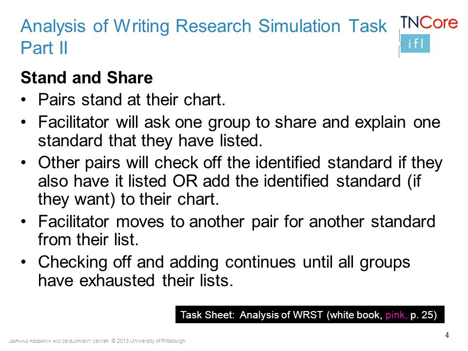 LEARNING RESEARCH AND DEVELOPMENT CENTER © 2013 University of Pittsburgh Analysis of Writing Research Simulation Task Part II Stand and Share Pairs stand at their chart.