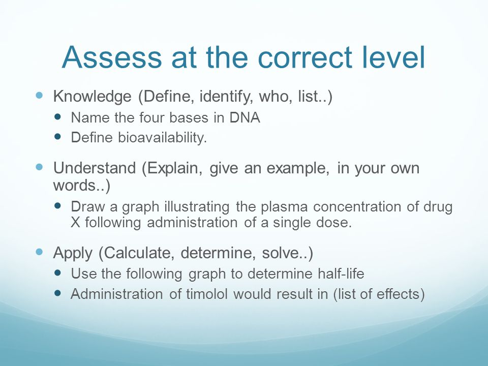 Assess at the correct level Knowledge (Define, identify, who, list..) Name the four bases in DNA Define bioavailability.