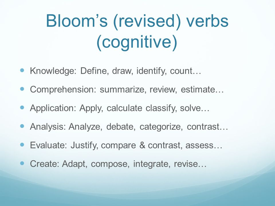 Bloom's (revised) verbs (cognitive) Knowledge: Define, draw, identify, count… Comprehension: summarize, review, estimate… Application: Apply, calculate classify, solve… Analysis: Analyze, debate, categorize, contrast… Evaluate: Justify, compare & contrast, assess… Create: Adapt, compose, integrate, revise…