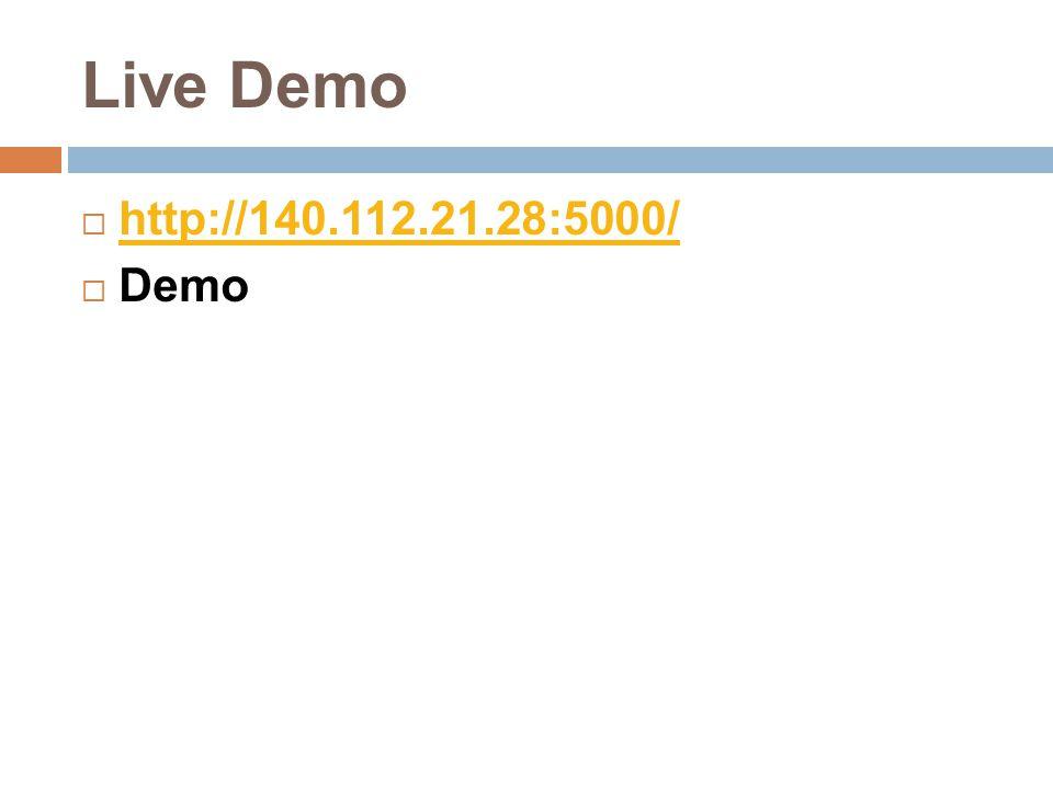 Live Demo  http://140.112.21.28:5000/ http://140.112.21.28:5000/  Demo