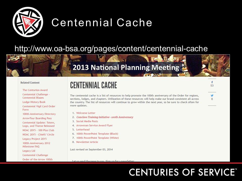 Centennial Cache http://www.oa-bsa.org/pages/content/centennial-cache