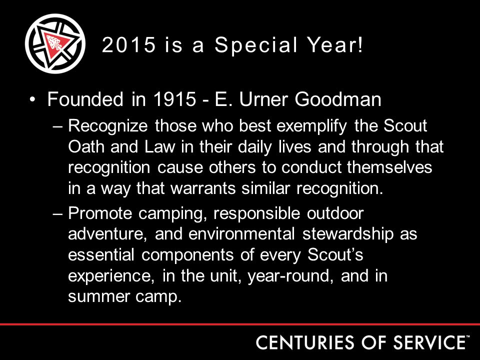 2015 is a Special Year. Founded in 1915 - E.