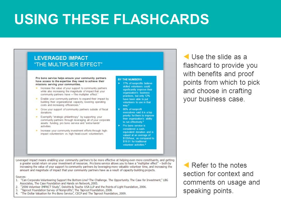 USING THESE FLASHCARDS  Use the slide as a flashcard to provide you with benefits and proof points from which to pick and choose in crafting your business case.