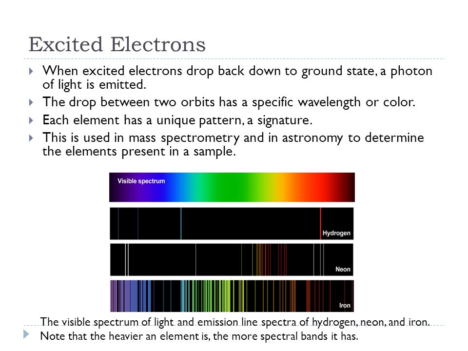 Excited Electrons  When excited electrons drop back down to ground state, a photon of light is emitted.