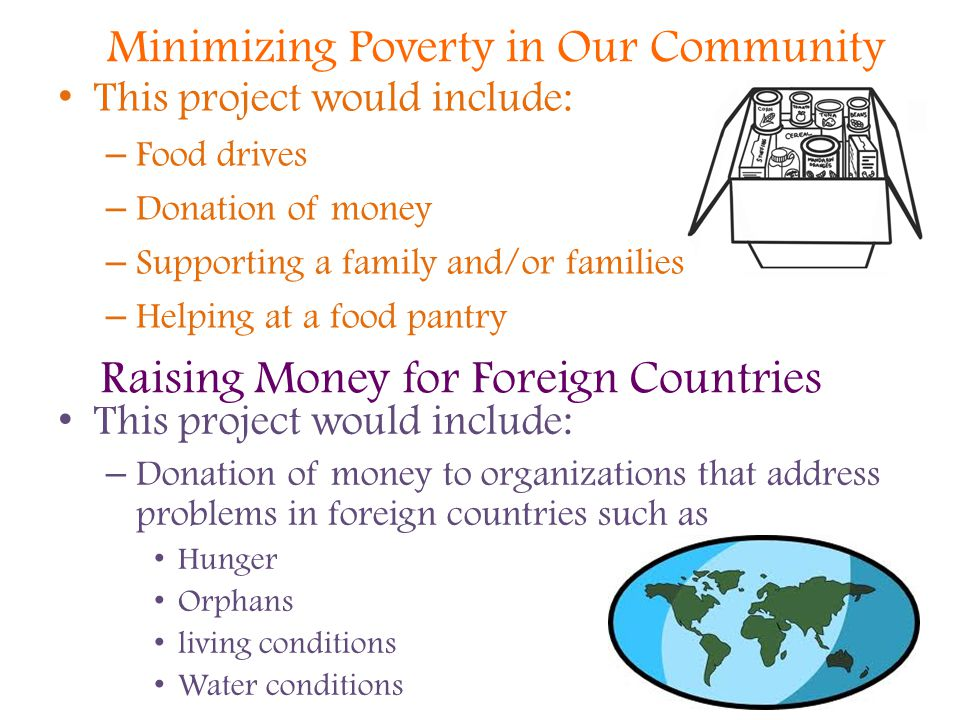 Raising Money for Foreign Countries This project would include: – Food drives – Donation of money – Supporting a family and/or families – Helping at a