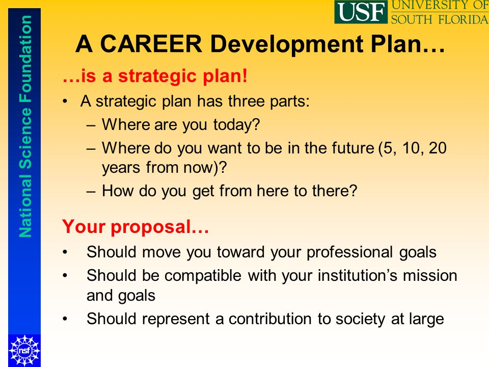 National Science Foundation A CAREER Development Plan… …is a strategic plan! A strategic plan has three parts: –Where are you today? –Where do you wan