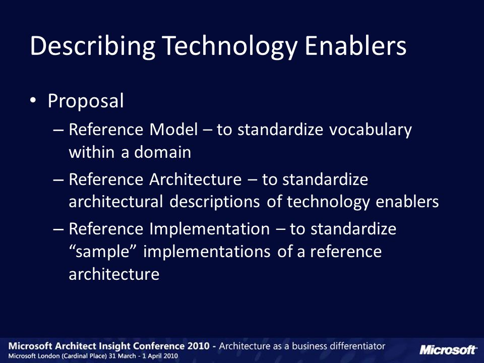 Proposal – Reference Model – to standardize vocabulary within a domain – Reference Architecture – to standardize architectural descriptions of technology enablers – Reference Implementation – to standardize sample implementations of a reference architecture Describing Technology Enablers