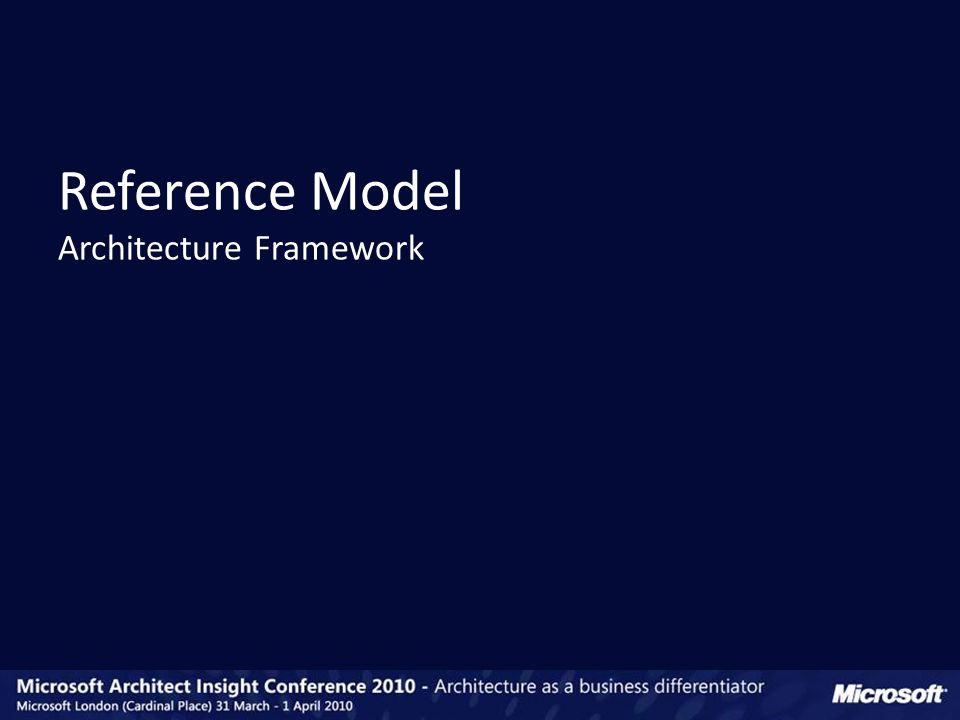 Reference Model Architecture Framework