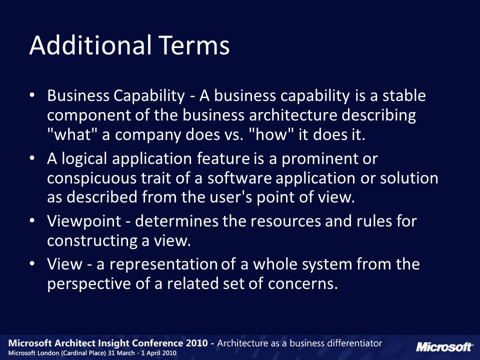 Business Capability - A business capability is a stable component of the business architecture describing what a company does vs.