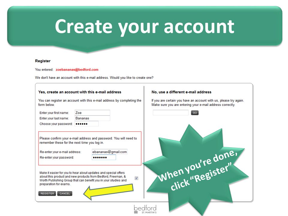 """When you're done, click """"Register"""" Create your account"""