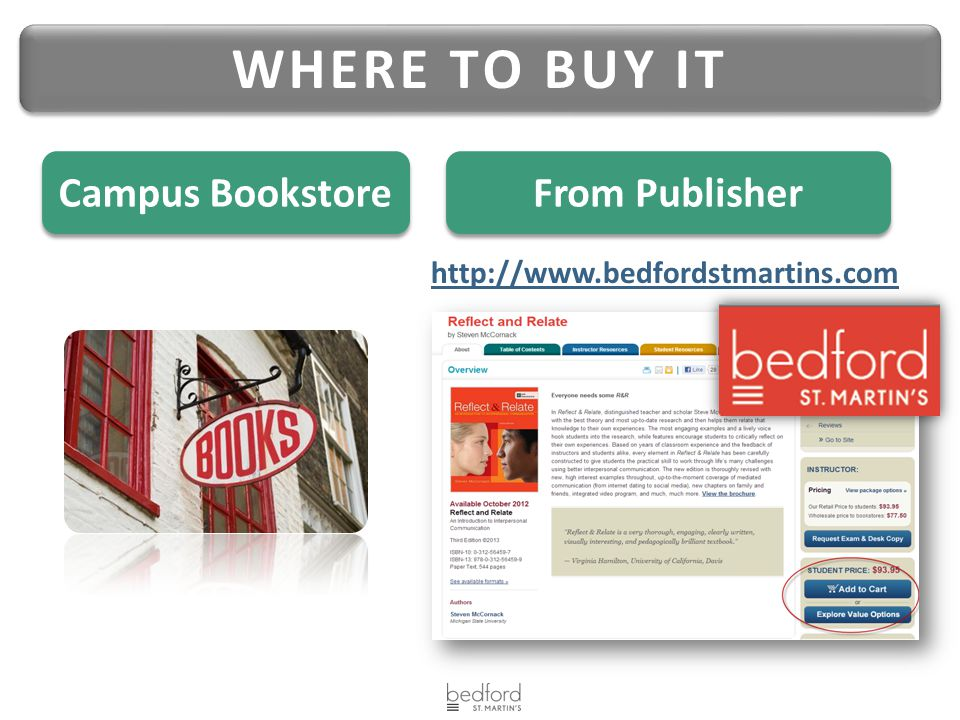 WHERE TO BUY IT From Publisher Campus Bookstore http://www.bedfordstmartins.com