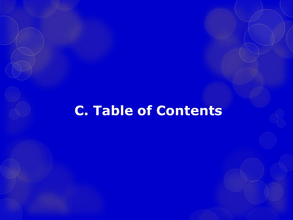 C. Table of Contents
