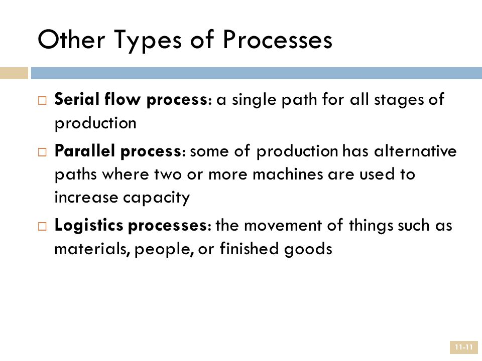 Other Types of Processes  Serial flow process: a single path for all stages of production  Parallel process: some of production has alternative path