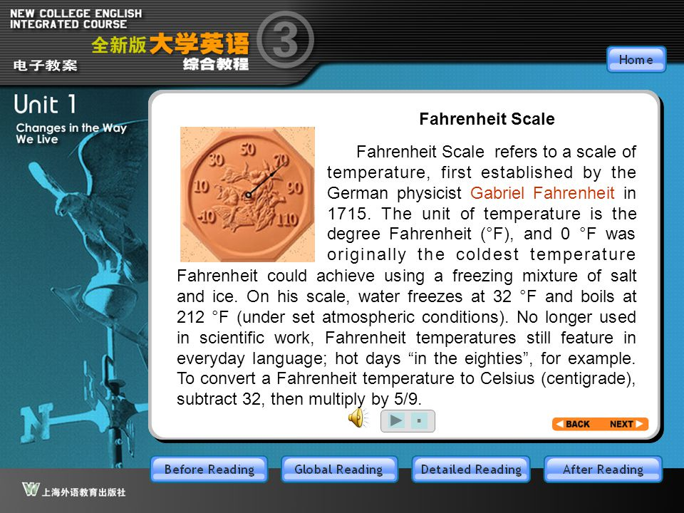 BR4.1 Fahrenheit Scale refers to a scale of temperature, first established by the German physicist Gabriel Fahrenheit in 1715. The unit of temperature