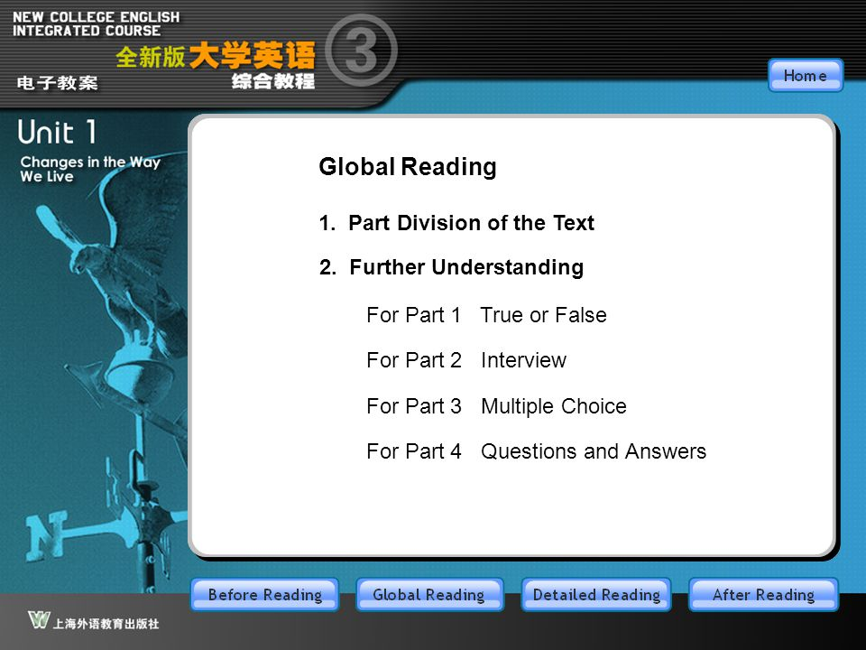 GR-main Global Reading 1. Part Division of the Text 2. Further Understanding For Part 1 True or False For Part 2 Interview For Part 3 Multiple Choice