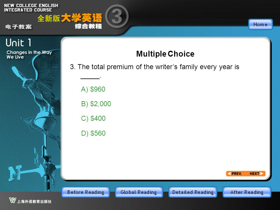 GR-Part3-M3 Multiple Choice 3. The total premium of the writer's family every year is _____. A) $960 B) $2,000 C) $400 D) $560
