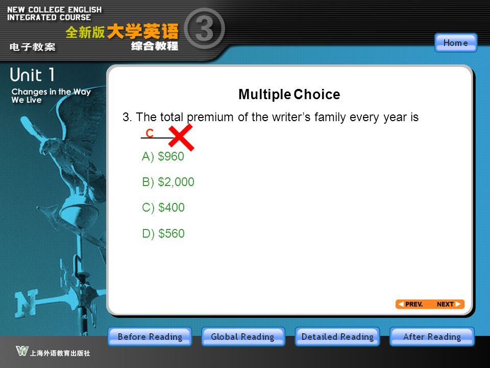 GR-Part3-M3-C Multiple Choice 3. The total premium of the writer's family every year is _____. C A) $960 B) $2,000 C) $400 D) $560