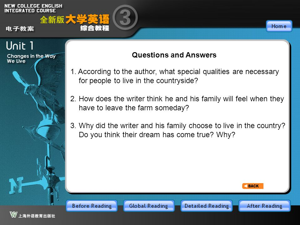 GR-Part4-1 Questions and Answers 1. According to the author, what special qualities are necessary for people to live in the countryside? 2. How does t