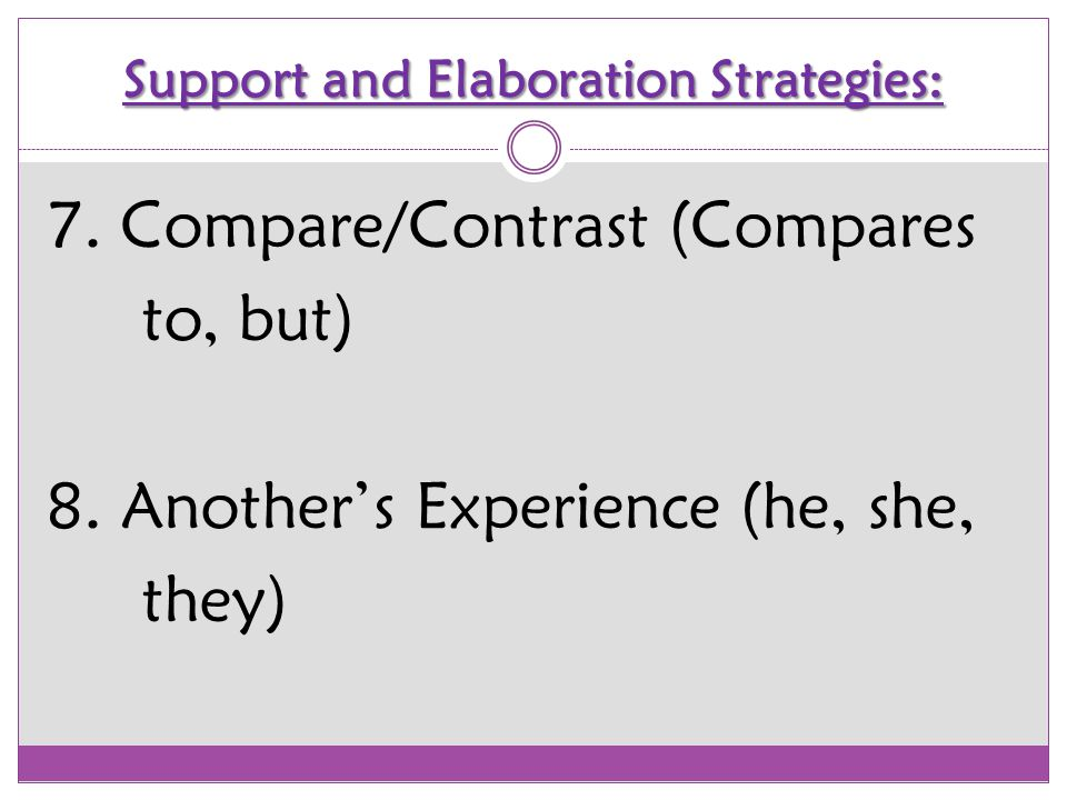 Support and Elaboration Strategies: Let's Practice Together!