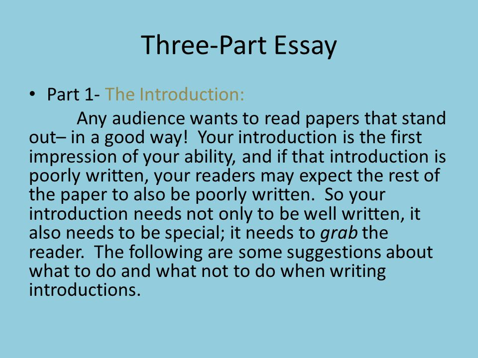 Three-Part Essay Part 1- The Introduction: Any audience wants to read papers that stand out– in a good way! Your introduction is the first impression
