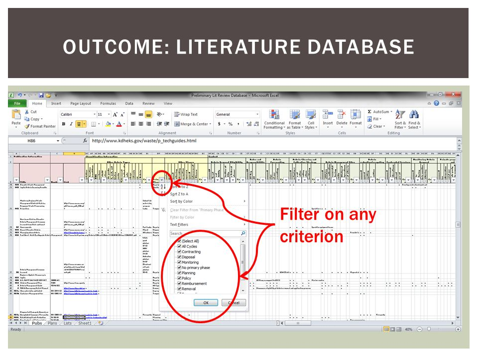 OUTCOME: LITERATURE DATABASE Filter on any criterion