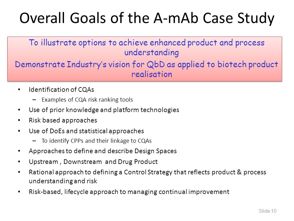To illustrate options to achieve enhanced product and process understanding Demonstrate Industry's vision for QbD as applied to biotech product realis
