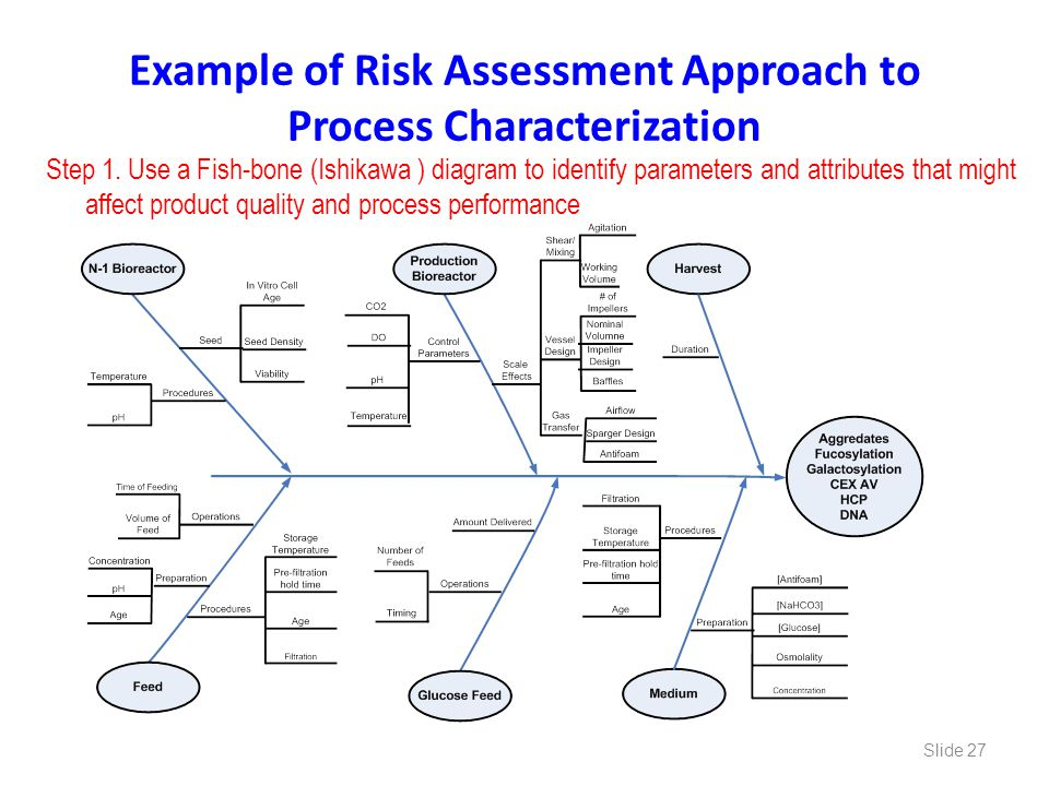 Example of Risk Assessment Approach to Process Characterization Step 1. Use a Fish-bone (Ishikawa ) diagram to identify parameters and attributes that