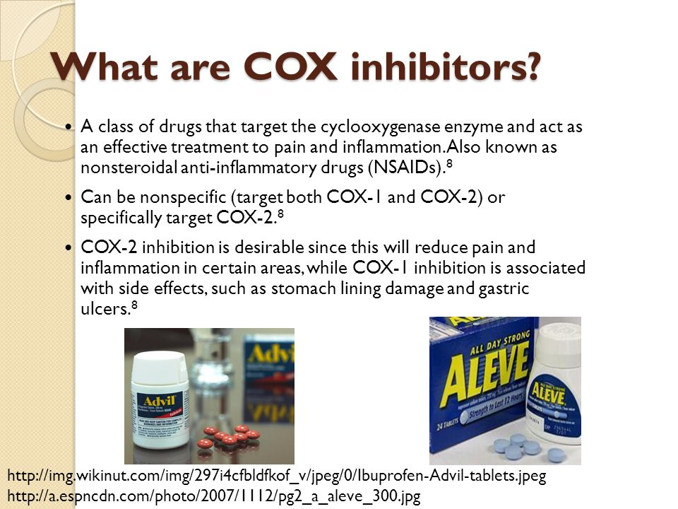 What are COX inhibitors? A class of drugs that target the cyclooxygenase enzyme and act as an effective treatment to pain and inflammation. Also known