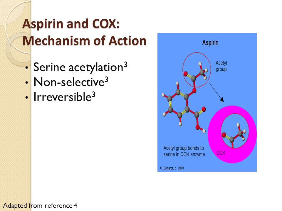 Aspirin and COX: Mechanism of Action Serine acetylation 3 Non-selective 3 Irreversible 3 Adapted from reference 4
