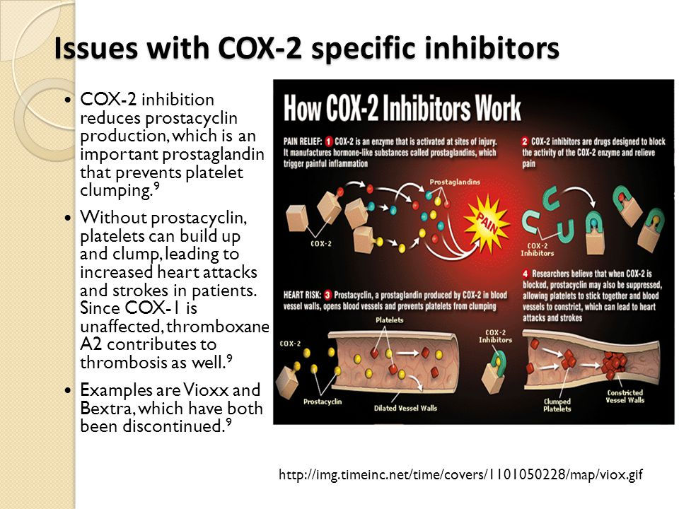 Issues with COX-2 specific inhibitors COX-2 inhibition reduces prostacyclin production, which is an important prostaglandin that prevents platelet clu