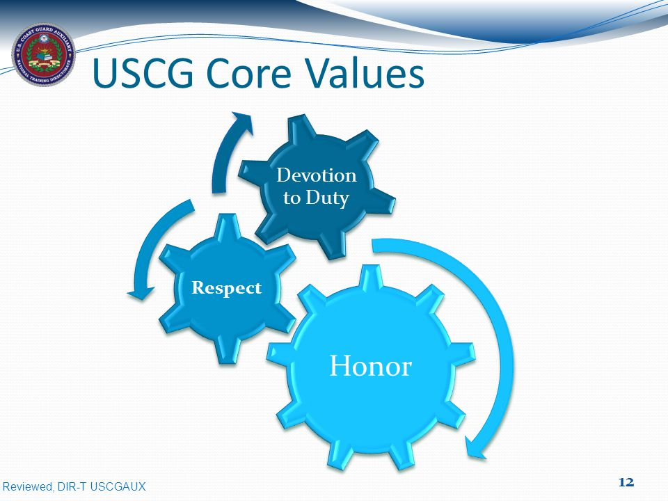 Reviewed, DIR-T USCGAUX Honor Respect Devotion to Duty USCG Core Values 12