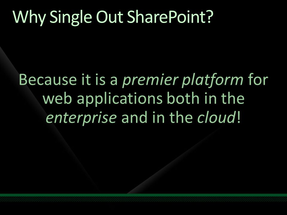Why Single Out SharePoint.