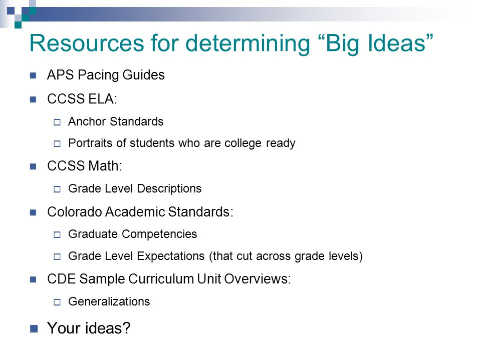 """Resources for determining """"Big Ideas"""" APS Pacing Guides CCSS ELA:  Anchor Standards  Portraits of students who are college ready CCSS Math:  Grade"""