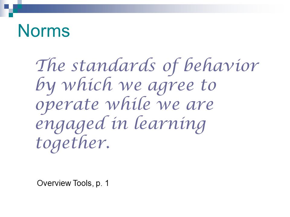 Norms The standards of behavior by which we agree to operate while we are engaged in learning together. Overview Tools, p. 1