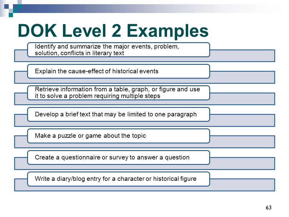DOK Level 2 Examples Identify and summarize the major events, problem, solution, conflicts in literary text Explain the cause-effect of historical eve