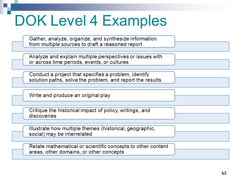DOK Level 4 Examples Gather, analyze, organize, and synthesize information from multiple sources to draft a reasoned report Analyze and explain multip