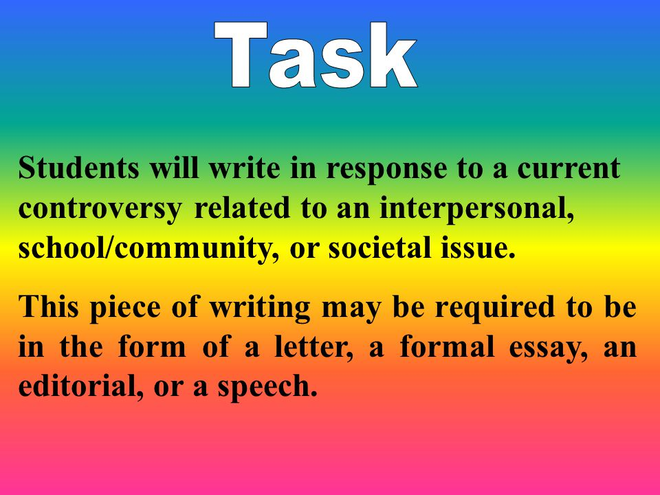 Students will write in response to a current controversy related to an interpersonal, school/community, or societal issue.