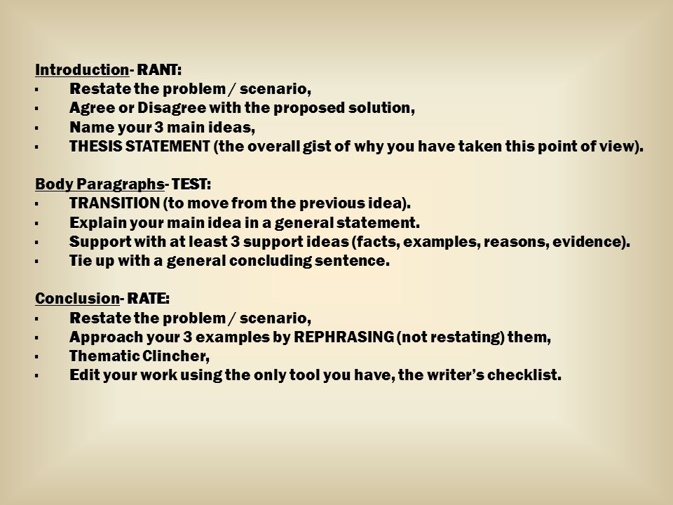 RANT Introduction- RANT: R · Restate the problem / scenario, A · Agree or Disagree with the proposed solution, N · Name your 3 main ideas, T · THESIS STATEMENT (the overall gist of why you have taken this point of view).